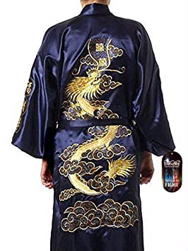 Hombre Desgaste Noche Japonés Dragón bordado Bata De Dormir Tradicional Ropa Kimono 1 tamaño Senior azul oscuro con Golden TAKASHI Japón Regalo Ideal Para ...