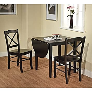 Amazon.com   Simple Living Black 3 Piece Country Cottage Wood Dining Set    Table U0026 Chair Sets