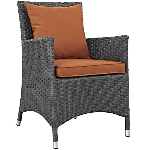Modway EEI-1924-CHC-TUS Sojourn Wicker Rattan Outdoor Patio Sunbrella Fabric, One Armchair, Tuscan Orange