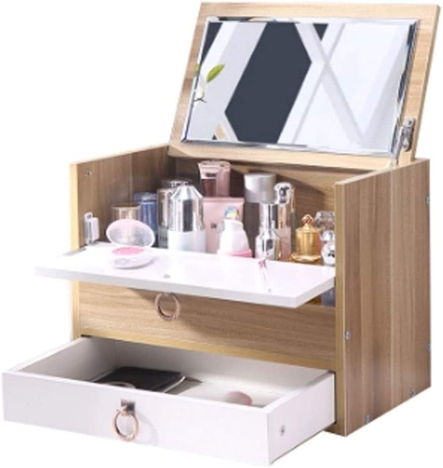 化粧品収納ボックス女の子のお気に入りのギフト防塵大木製化粧品収納ボックス寝室研究付きミラー引き出しラックドレッシングテーブル化粧品ケース (Color : WHITE, Size : 40X24.5X48.5CM)