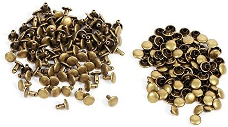 ZJchao Double Cap Rivet Tubular 100pcs Metal Studs Fastener Leather Craft Repairs Spikes for or Bags Jackets Straps 8×8mm(Bronze)