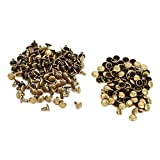 Double Cap Rivet Tubular, 100pcs Metal Studs Fastener Leather Craft Repairs Spikes for or Bags Jackets Straps 8×8mm(Bronze)