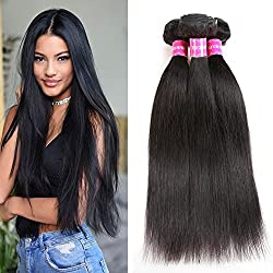 Encii Hair 10A Brazilian Straight Hair 16 18 20 Unprocessed Brazilian Weave Hair Human Bundles Natural Black Color Total 300g