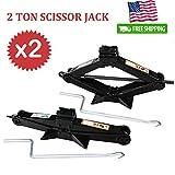 2 Set Auto Car Wheel Scissor Jack 2 Ton Capacity 4.2-15 I...
