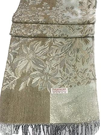 Scarf Beautiful Gold Jamavar Floral Design Pashmina Style Shawl Wrap