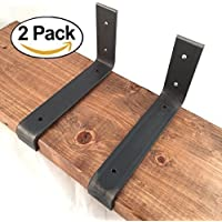 """2 Pack - 7.25""""L x 4""""H Lip Brackets, Handcrafted Forged Rustic Reclaimed Salvaged Metal Steel Shelf Wall Brackets hook."""
