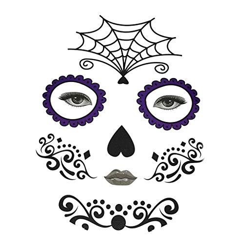 Fenteer Halloween Day of Dead Temporary Face Tattoo Kit Skull Cobweb Flower Sticker - Spider Web