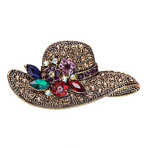 RINHOO Antique Gold Retro Crystal Rhinestone Flower & Bowknot Brooch Pin Women Girls Jewelry(Hat)