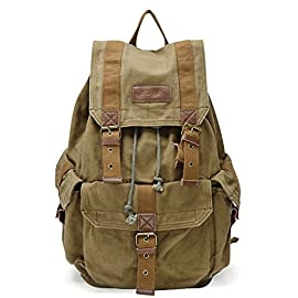 Gootium 21101 Specially High Density Thick Canvas Backpack Rucksack 5 Thick Canvas Backpack with Durable Metal Fastenings;Garment Washed For Vintage Look And Enhances Soft Hand Feel This High Density Canvas Backpack Features A Classic Shape With Several Pockets For Storage And Organization; Ample Interior Room Accommodates A 17 Inch Laptop As Well As Holding A Variety Of Other Items This Rucksack Has A Roomy Main Compartment, 1 Large front Pockets Closed By Button, 1 Internal Security Zippered Pocket For Valuable Items And Two Side Pockets With Button Closure