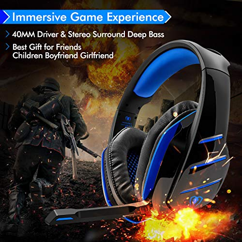 PS4 Gaming Headset with Mic, Beexcellent Newest Deep Bass Stereo Sound Over Ear Headphone with Noise Isolation LED Light for PC Laptop Tablet Mac (Blue) 4