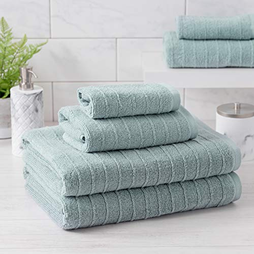 Welhome James 100% Cotton Textured Bath Towel Set of 6 (Mineral) – Super Absorbent – Soft & Luxurious – Quick Dry – 2 Bath – 2 Hand – 2 Wash Towels