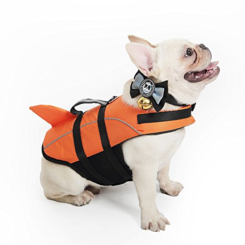Kimol Large Dog Life Jacket Shark Dog Swimming Vest, Orange