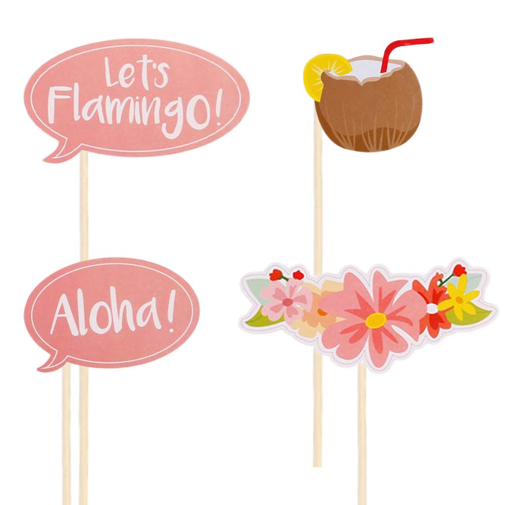 Photo Booth Prop 21pcs DIY Kit for Hawaii Holiday Flamingo Summer Party Supplies, Photobooth Dress-up Accessories Beach Pool Party Favors Summer Festivals Celebrations