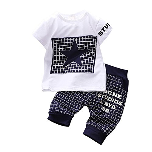 Travfis Children'S Suit Sets T-Shirts+Shorts Baby Boys Casual Clothing Sets Lqw851 Navy Blue 2T