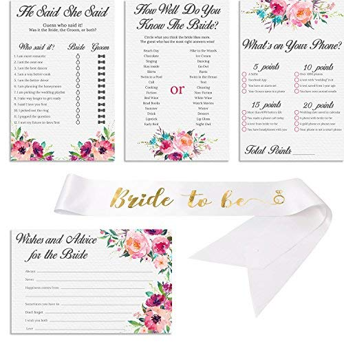Set of 4 Vintage Watercolor Flower Themed Bridal Shower Game Card Packs with White and Gold Satin quotBride to Bequot sash  55 x 85 Inches  50 Sheets Each Game 200 Total