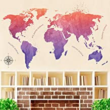 BIBITIME Chinese ink painting style Area World Map Wall Decal Ocean Quotes N S W E Compass Rose Vinyl Sticker for Living Room Nursery Bedroom Kids Room Decor Home Art Mural