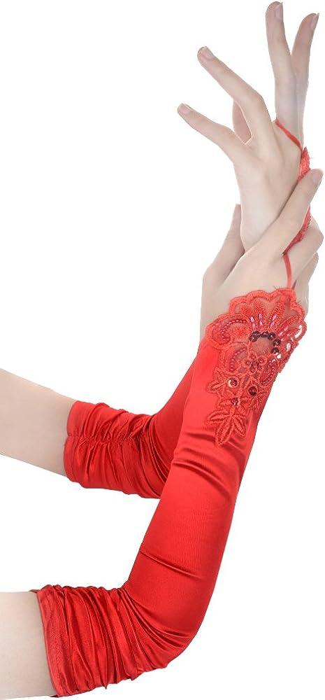 JISEN Women 20s Satin gloves Formal Bridal Banquet Party Wedding Opera Colorful Mitten