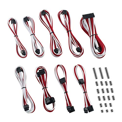 (CableMod Classic ModMesh C-Series Cable Kit for Corsair RMi & RMX - White/RED)