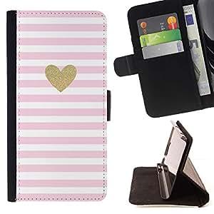 For Apple iPhone SE / iPhone 5 / iPhone 5S Case , Corazón de oro del brillo rosa de San Valentín Amor Blancas- la tarjeta de Crédito Slots PU Funda de cuero Monedero caso cubierta de piel