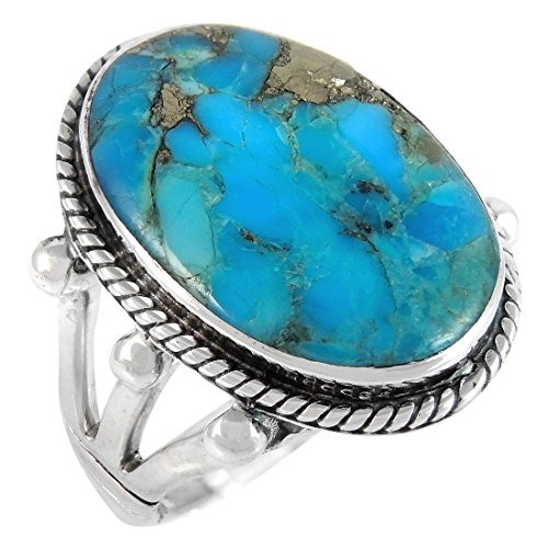 Turquoise Ring in Sterling Silver 925 & Genuine Turquoise Size 6 to 11 (8) by Turquoise Network (Image #1)