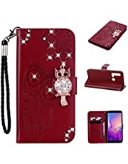 Strap Diamond Wallet Case for Huawei P20 Lite 2019,Aoucase Luxury 3D Owl Bling Gems Magnetic Cute Mandala Print PU Leather Soft TPU Stand Flip Case with Black Dual-use Pen - Brown