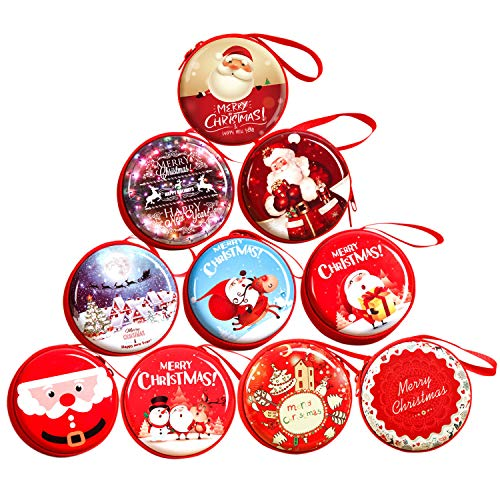 10pcs Christmas Santa Claus Gifts, Candy Pouch Coin Purse, Bluetooth Headset Carrying Case