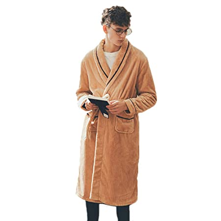 a3f2f44ac4 Luxury Pajamas Plus-size Bathrobe Mens Dressing Gown Warm Housecoat For  Home Outdoor (Color