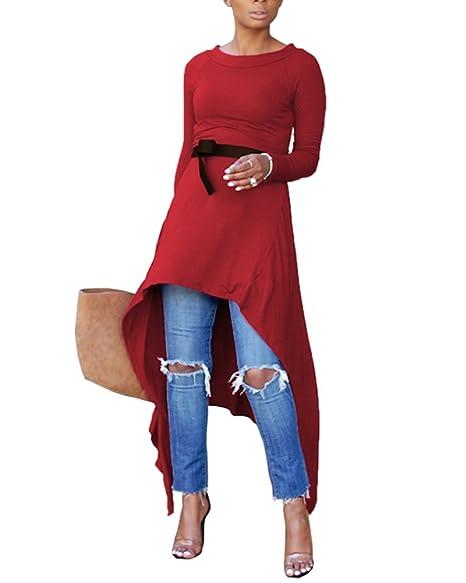 Amazon.com: Blusa de túnica alta y baja para mujer - Camisa ...