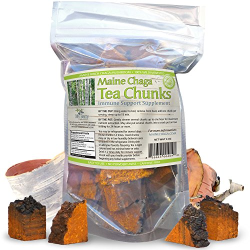 Maine USA Chaga Mushroom Premium Tea Chunks, 4oz, Not Sourced Out Of Country, Wild Harvested, 34-50 Servings by My Berry Organics