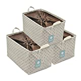 Lidded Grocery Storage Basket, Books/Newspaper/Magazines Storage Organizer Bin with Drawstring for Dust Proof, 3pcs, Khaki Dot