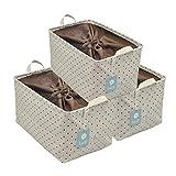 iwill CREATE PRO Shelf Storage Basket, Pack of 3, Khaki Dot
