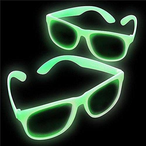 Glow In The Dark Glasses - Clear Lens - Great For Party (2 Pack) By Dragon Too (Glow In The Dark Eyeglasses)