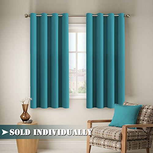 FlamingoP Blackout Ultimate Performance Solid Pattern Drape, Light  Blocking, Grommet Top, One Panel 63 By 52 Inch  Teal