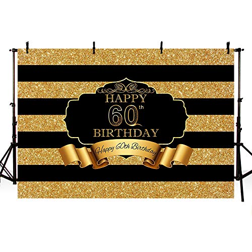 MEHOFOTO Photo Studio Booth Background Black and Gold Sequins Stripes 60th Happy Birthday Party Banner Backdrops for Photography 8x6ft