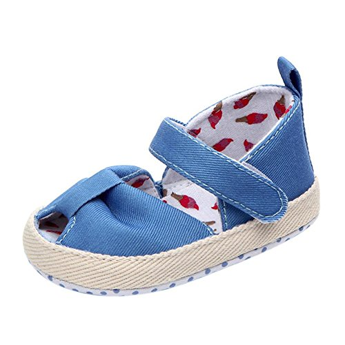 Simayixx Trendy Girls Newborn Bowknot Princess Sandals Anti-Slip Soft Sole Canvas Sneaker (3~6Months, Blue)