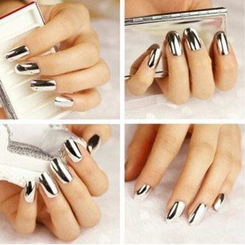 Good2Deal 2* Fashion Super Star Nail Art Polish Gold and Silver Metallic Foil Sticker Patch Wraps Tips 32 Pcs for Women Girls Wife