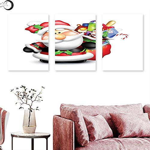 J Chief Sky Santa Wall Decoration Whimsical Cartoon Father Xmas with Pinkish Cheeks and Bag Full of Fun Present Toys Wall Painting Multicolor Triptych Art Canvas W 16