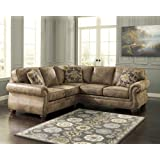Ashley 31901-55-67 Larkinhurst Sectional Sofa with Left Arm Facing Loveseat and Right Arm Facing Sofa in Earth