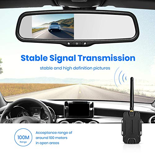 ZEROXCLUB Wireless Rear View Camera Kit,1080P FHD Car Backup Camera IP69 Waterproof Night Vision Reverse Camera Monitor for Van RV Truck Trailer SW02