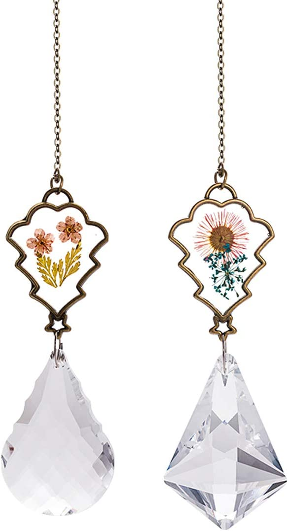 Crystal Suncatcher with Real Embedded Pressed Flower Hanging Pendant Prism Window Ornament Decoration Pack of 2