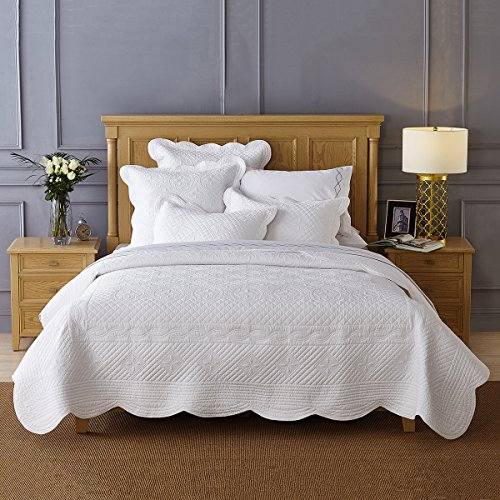 Calla Angel CAQTCTKWT_SGDN Sage Garden Luxury Pure Cotton Quilt,White,King by Calla Angel