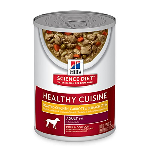 Hill's Science Diet Adult Healthy Cuisine Wet Dog Food, Roasted Chicken Carrots & Spinach Stew Canned Dog Food, 12.5 oz, 12 Pack Hills Science Diet Healthy