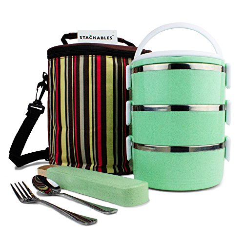 - Stackables Lunch Box (Green) 3 Tier | Insulated Container Bag with Utensil | Eco-Friendly | Biodegradable Wheat Straw Material | BPA Free | Lunch Box | Food Prep Storage | Stainless Steel
