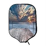 YOLIYANA Travel Decor Durable Racket Cover,Ocean Sea View Terrace Balcony During Sunset Dawn Image for Sandbeach,One Size