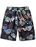 Vogstyle Men's Flat Front Shorts Casual Colorful Flower Printing Boardshorts Summer Beach Shorts L
