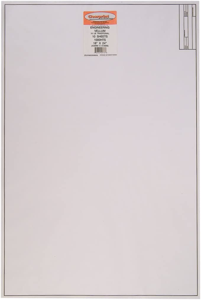 Clearprint Vellum Sheets with Engineer Title Block, 24x36 Inches, 16 lb., 60 GSM, 1000H 100% Cotton, 10 Sheets/Pack, Translucent White (10221228) : Tracing Paper : Office Products