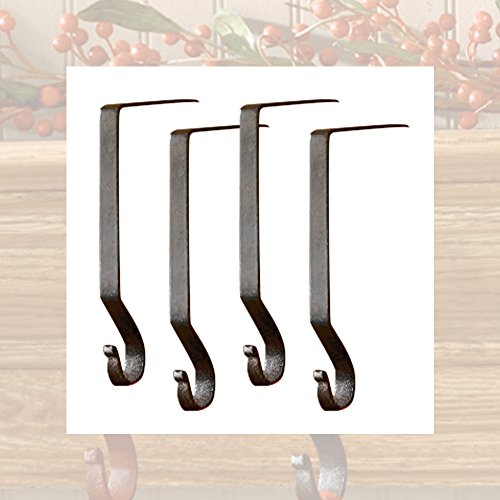Iron Plain Stocking Hanger - 4 Pack - Black (Stocking Hook)
