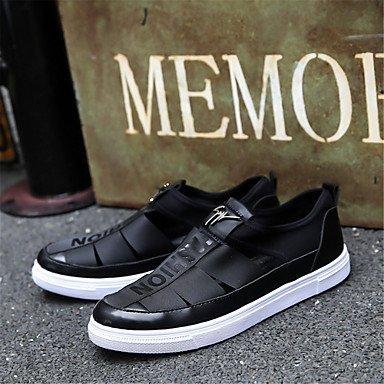 SHOES-XJIH&Uomini sandali Comfort luce suole in cuoio estate informale comfort suole luce marrone piatto nero,Black,US10 / EU43 / UK9 / CN44