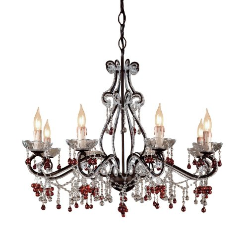 - 4509-DR Paris Flea Market 8LT Chandelier, Dark Rust Finish with Clear and Amber Beads