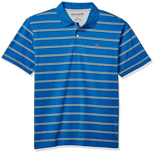 Mens Short Sleeve Polo Shirt - Dockers Men's Short Sleeve Performance Polo, Nebula Blue, XX-Large
